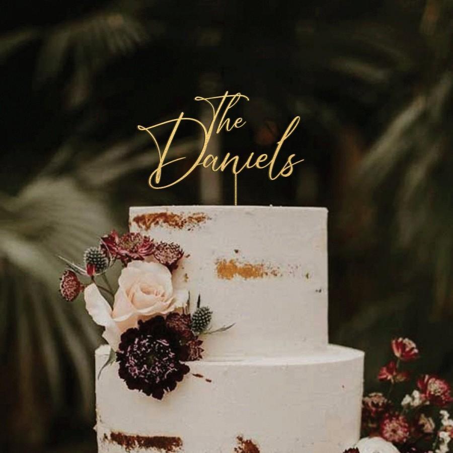 Mariage - Wedding cake topper, Custom cake topper, Mr and Mrs cake topper, Rustic wedding gold cake topper, Cake toppers,Birthday baptism anniversary