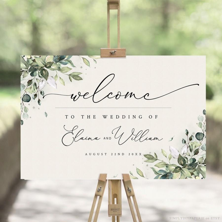 Mariage - Greenery Welcome Sign Template, Large Welcome Sign for Wedding, Event Welcome Sign, Boho Greenery Wedding Sign Poster, Welcome PDF, ARIA