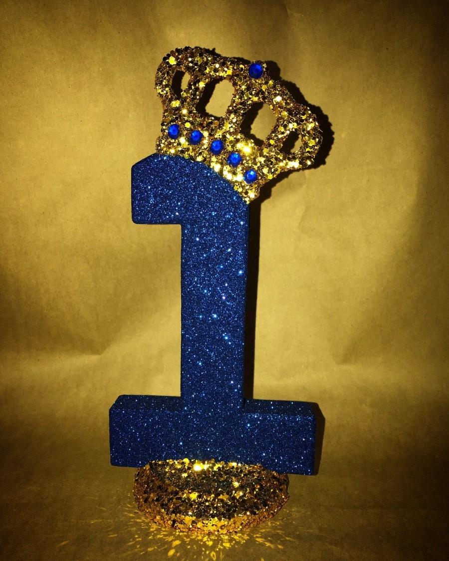 Wedding - Sparkle letters with crown.  Royal themed decoration for party decorations, photo props, baby showers, table numbers, princess and prince