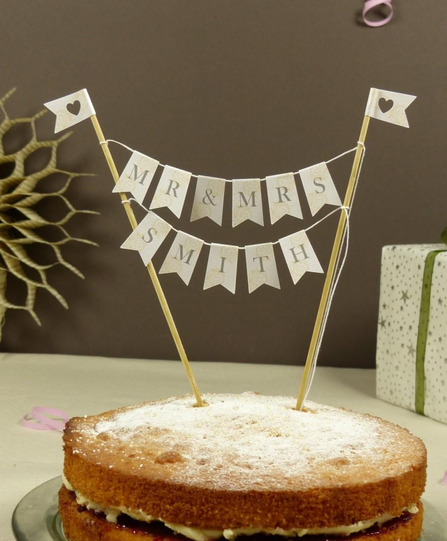 Hochzeit - Personalised cake bunting Mr & Mrs New Married name cake topper