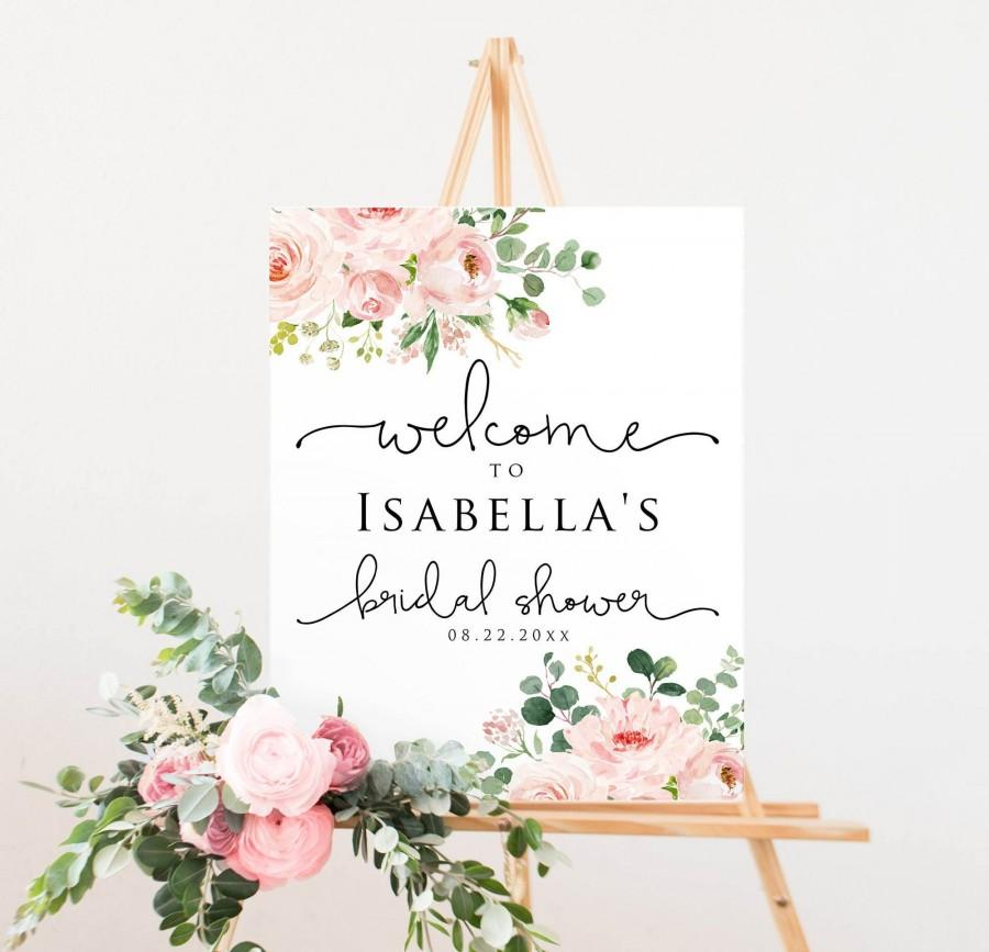 Wedding - 6 Sizes Blush Floral Bridal Shower Welcome Sign Template, Printable Welcome Sign, Editable Welcome Sign, PinkWelcome Sign, Instant Download