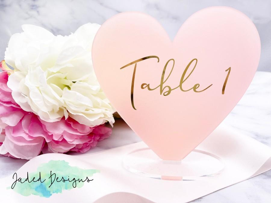 Wedding - Heart Table Numbers for Wedding Table Numbers Acrylic Bridal Shower Table Numbers, Modern Table Numbers, Rose Gold Wedding Decor, Mirror