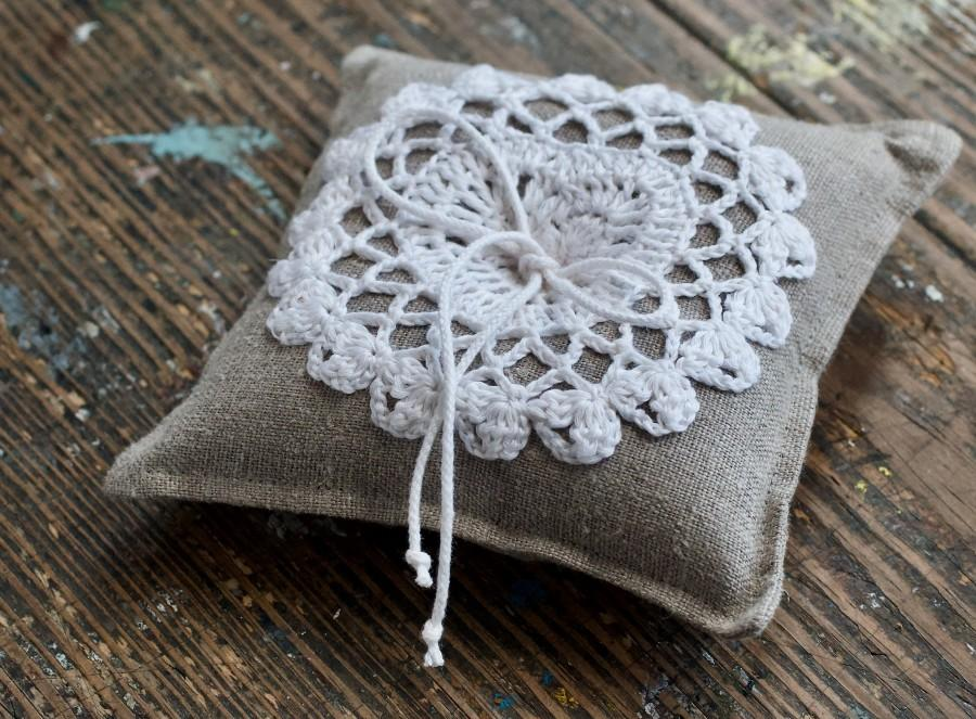 Wedding - Linen Ring Bearer Pillow in Natural with Hand Crocheted Detail
