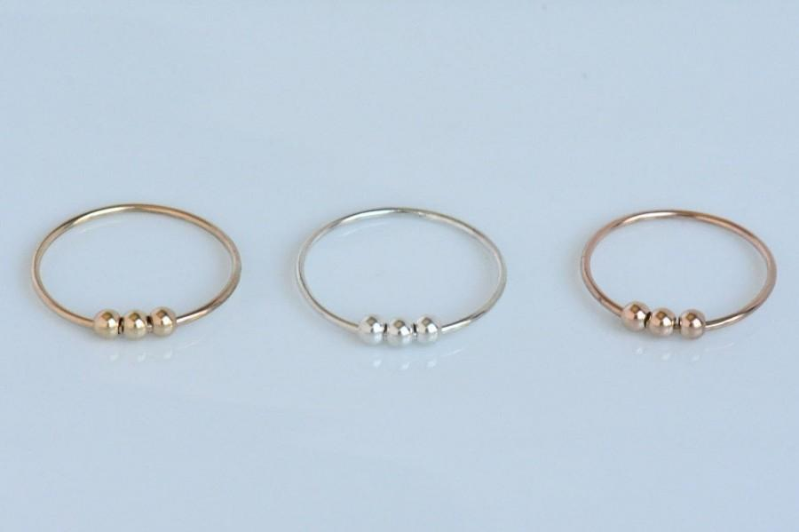 Wedding - Bead Stacking Ring/ Anxiety Bead Ring with3 Beads/ Thin Stacking RingMetal Spinning Ring /925 Sterling Silver/Gold Filled/Anniversary Gift