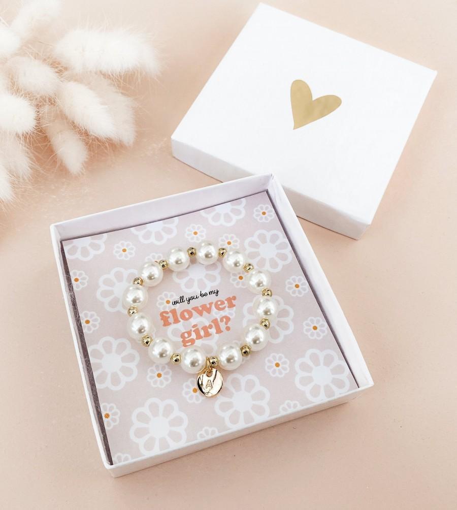 Hochzeit - Flower Girl Proposal Bracelet Flower Girl Bracelet Personalized Flower Girl Gift Ideas Monogram Girl Bracelet (EB3277GFL) Pearl Bracelet