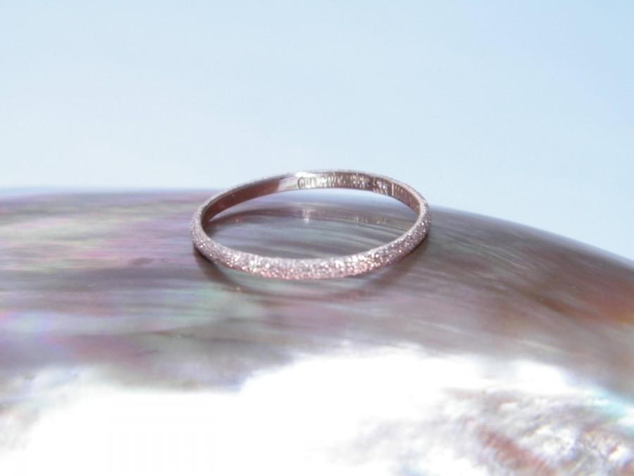 زفاف - Hand Made Solid 14K Rose Gold Wedding Stackable Ring Stardust Finish-Custom Order Size