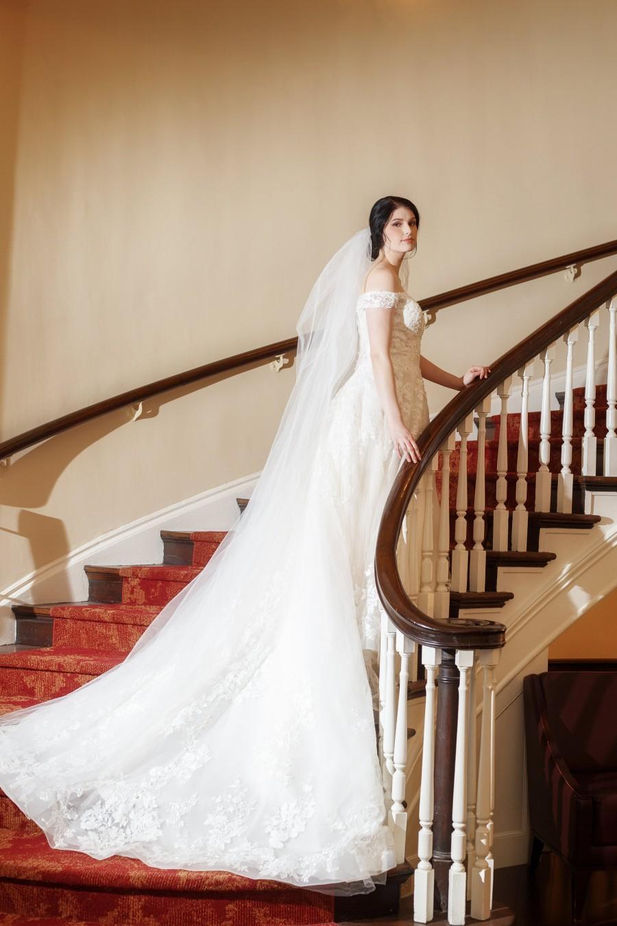 Wedding - 2 Tier Cathedral Wedding Veil, Veil with Blusher, Two Tier Veil, Raw Edge, Full Bridal Veil, Cut Edge Veil, White Ivory Wedding Veil