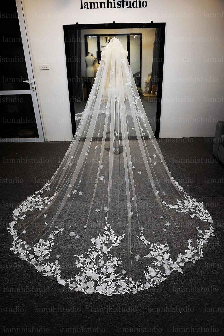 زفاف - ls47/3D flower lace veil /1 tier veil/bridal veil /wedding veil /cathedral veil/ custom veil