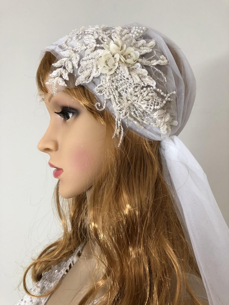 زفاف - Exquisite Juliet Cap Veil, boho veil, knee length wedding veil, Ivory veil