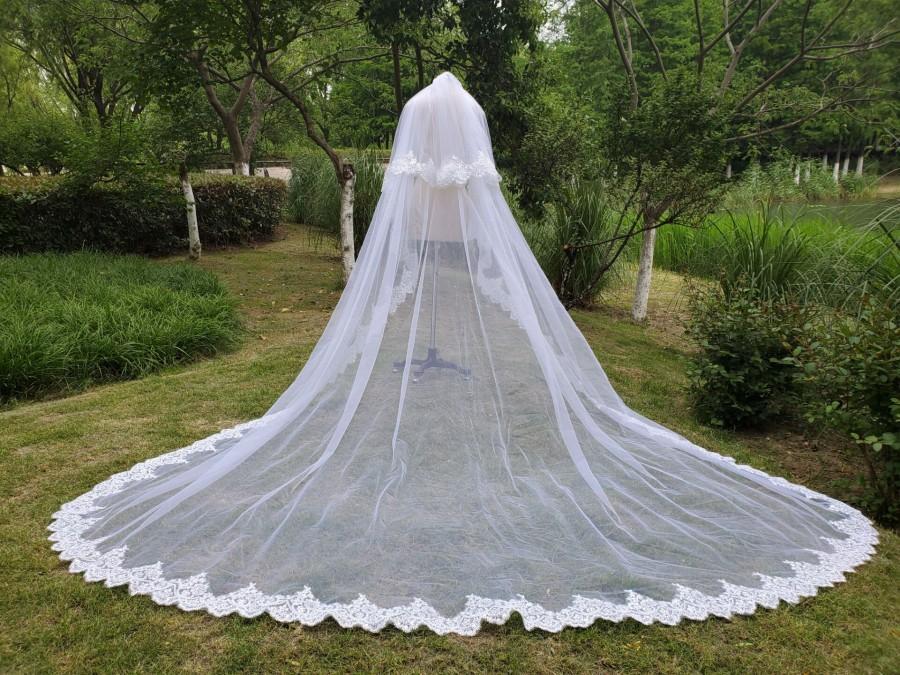 """زفاف - Luxury Cathedral bride veil white ivory sequins lace veil 2-tier wedding dress women accessories & comb Long 118 """"wide 110"""""""