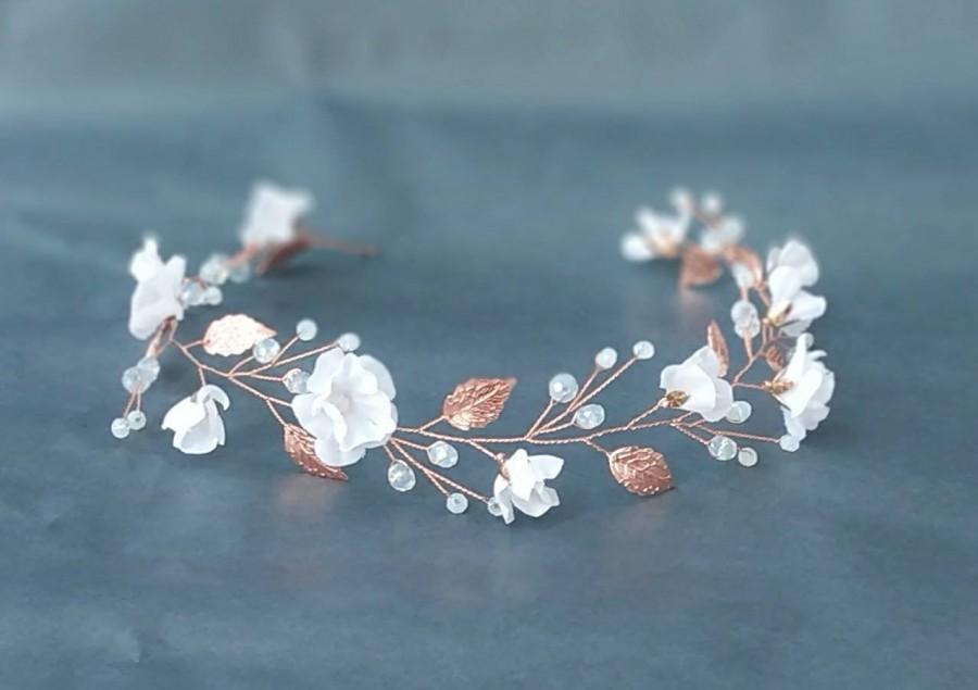 Hochzeit - Rose gold wedding headband. Opal rose gold hair piece. Wedding floral halo. Flower hair crown