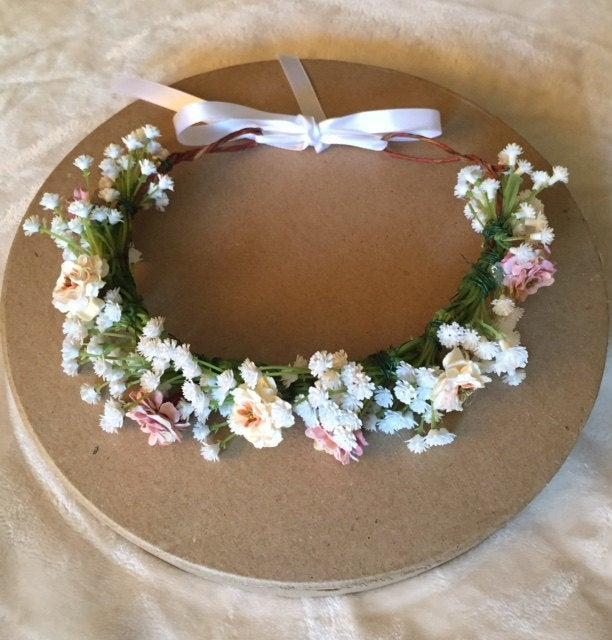 Hochzeit - Baby's Breath Flower Crown, Greenery, Bridal Flower Crown, Flower Girl, Floral Head Piece, Wedding Crown, Flower Headband, Flower Girl Crown