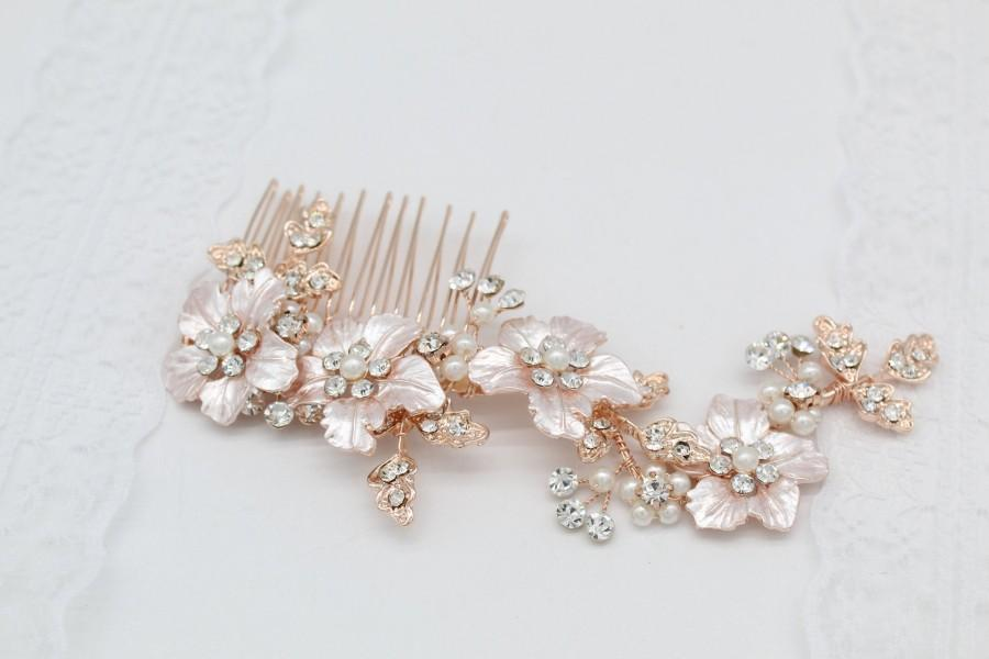 Wedding - Rose Gold Wedding Flower Hair Comb-Blush Pink Bridal Hair-Rose Gold Wedding Hair Accessories- Bridesmaid Hair Jewelry-Hair Jewellery