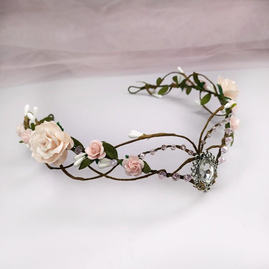 زفاف - Blush pink elf crown Elven headpiece Woodland elven crown Elven circlet Elf tiara Elven fairy crown