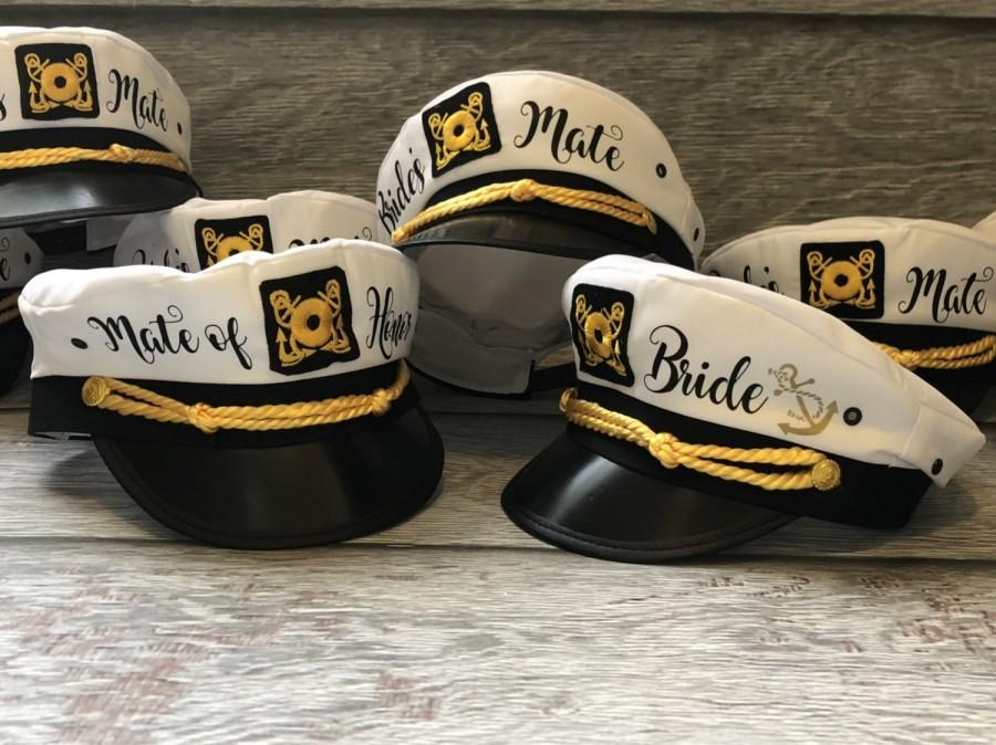 Wedding - veil Nautical Captains Hat, captain's hat, bride's crew hat, yacht - sailor bachelorette hat, nauti bride hat, bride's mate captain's hat