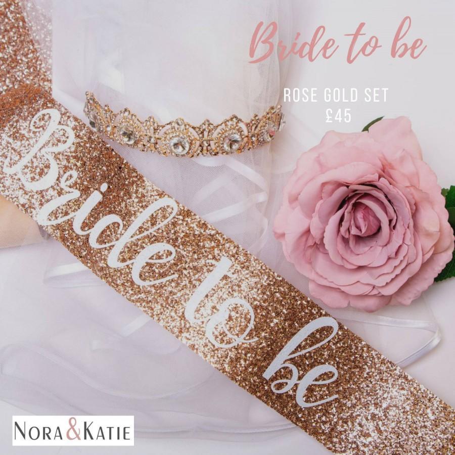 Hochzeit - Glitter Rose Gold sash - Bride sash - bachelorette party sash - rose gold glitter sash - hen night sash bride to be - Future Mrs
