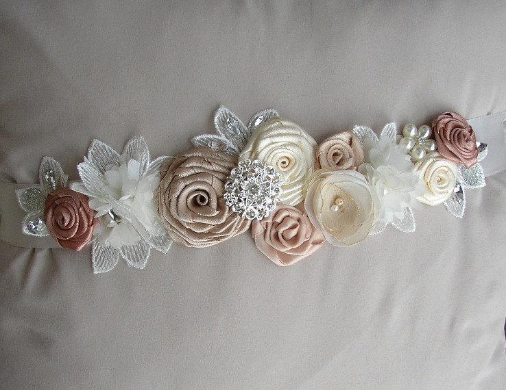 Mariage - Wedding Dress Sash, Ivory Champagne Bridal Sash, Vintage Style Floral Belt, Pearl Rhinestones Sash, Wedding Belts Sashes, Blush Dress Sash