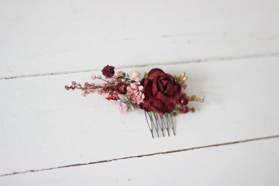 Hochzeit - Burgundy gold comb Dusty rose Floral headpiece Bridal comb Flower accessories Bridesmaid Vine  Wedding hair piece Outdoor wedding