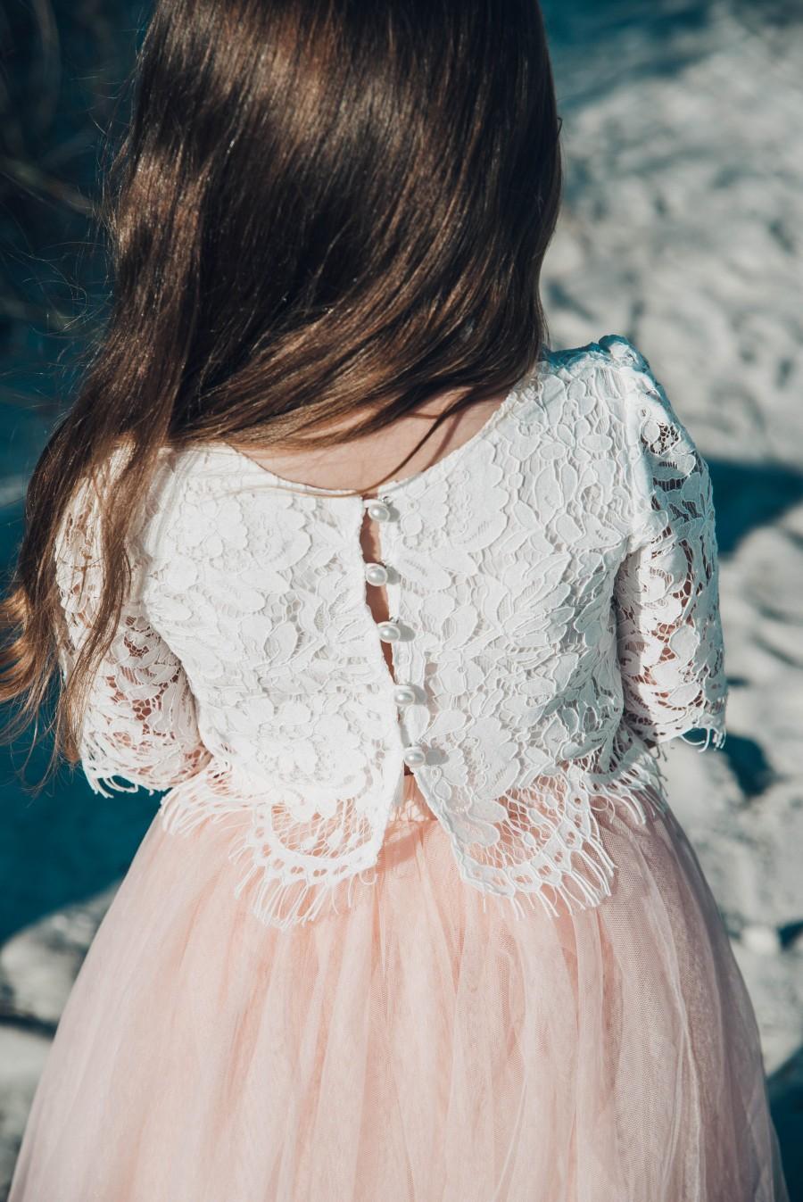 زفاف - White Lace Crop Top, Flower Girl , White Wedding, Lace Details