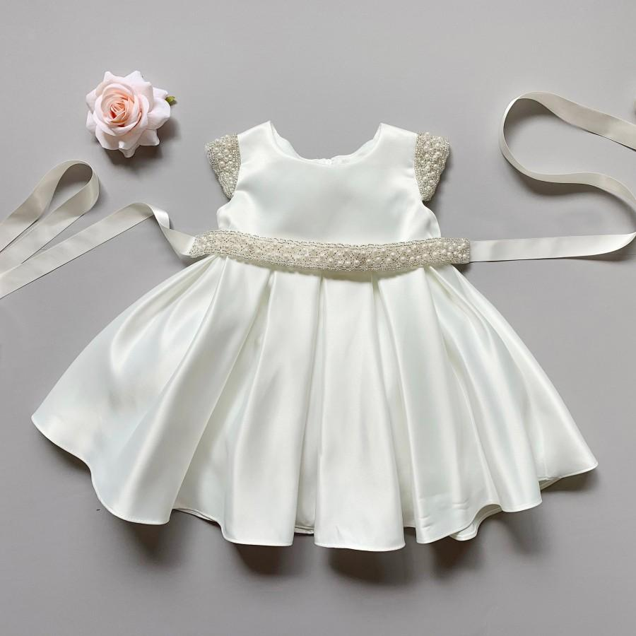 Hochzeit - Top quality Baby/Girls Dull Satin dress with a detachable pearl sash!