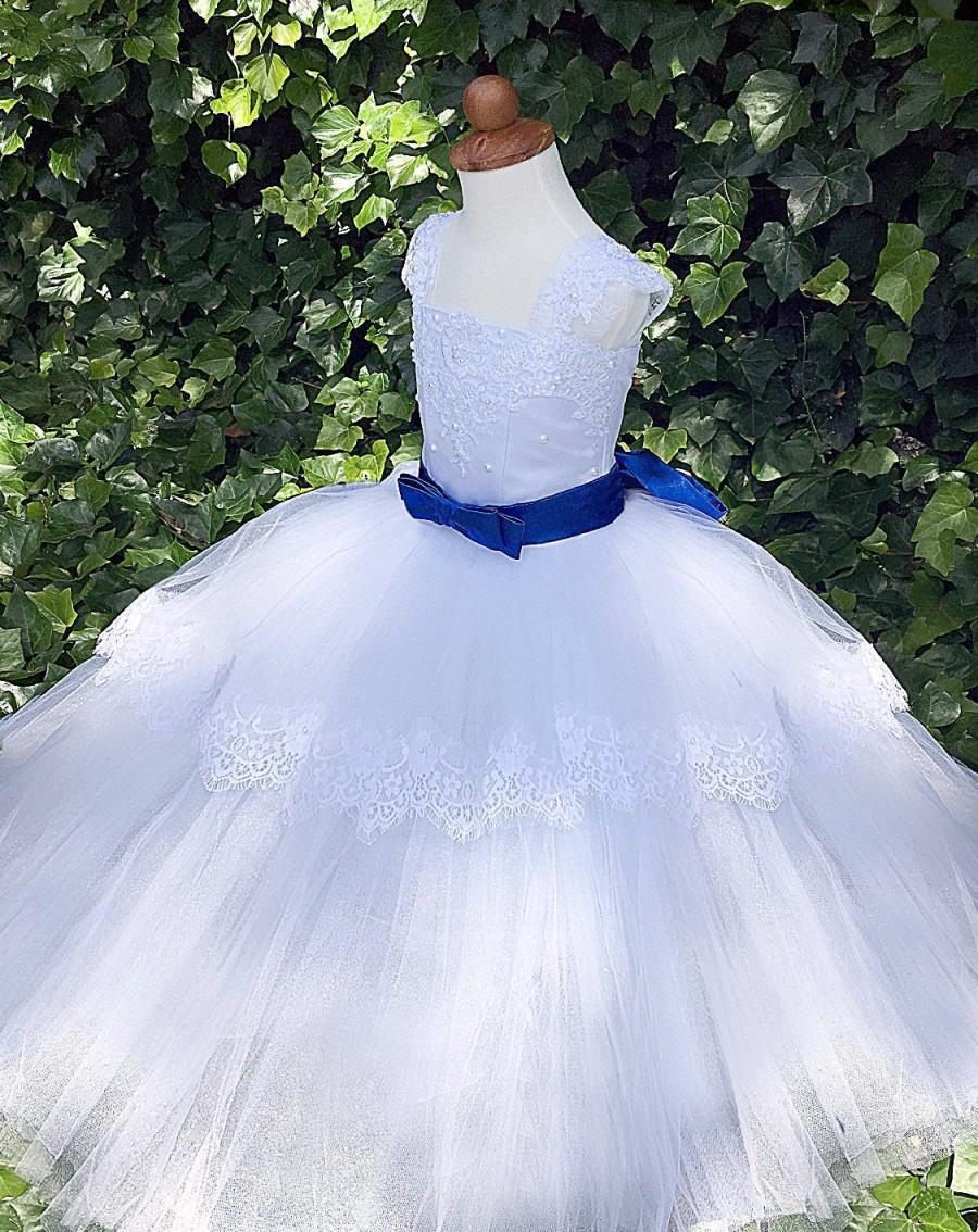Wedding - White flower girl dress Communion  Birthday  Princess girls wedding party Baptism Special occasion Baby Toddler