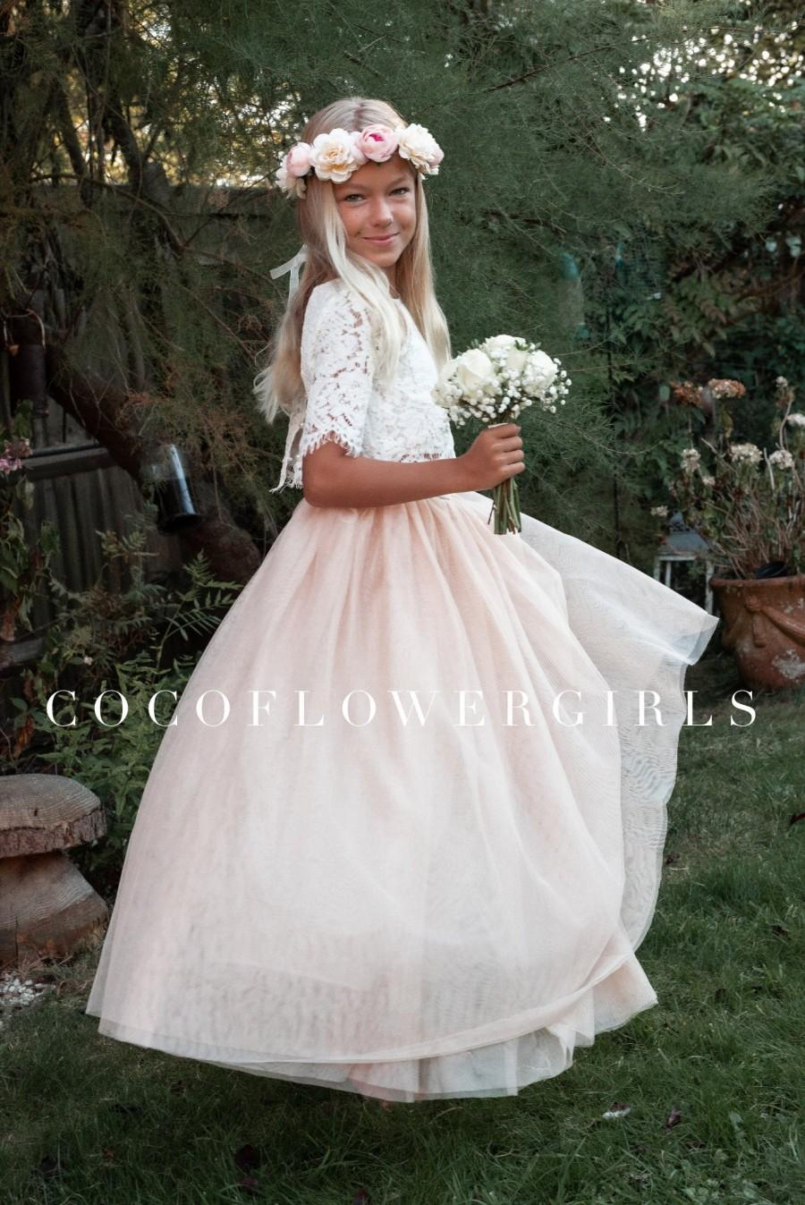 Hochzeit - Beautiful Boho Style Bridal Flower Girl Dress Lace Crop Top and Long Layered Princess Tulle Skirt - Apricot Champagne