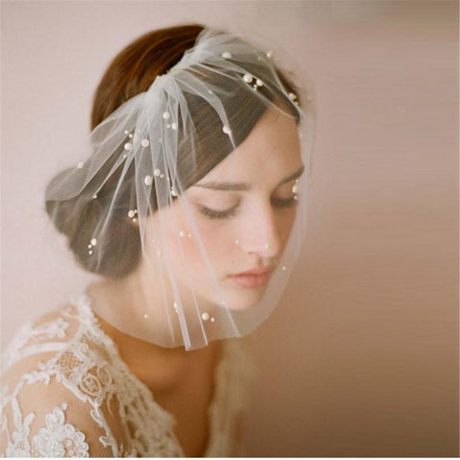 Hochzeit - Ivory Birdcage Veil with Pearls Bird Cage Wedding Veil Short Bridal Veil Bride Headpiece Blusher Veil with Pearls Wedding Accessories
