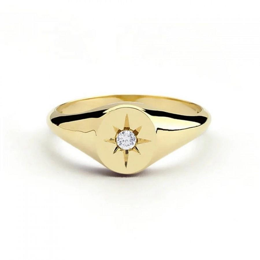 Wedding - Minimalist North Star Diamond Engraved Ring Solid 22K Gold Filled Sz 6-10 FREE & FAST SHIPPING Stunning Gift