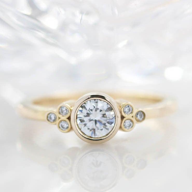 Свадьба - Bezel Set Diamond Setting Moissanite Center Engagement Ring - Audrey