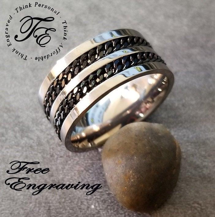 Mariage - Men's Promise Ring Custom Engraved Titanium Double Chain