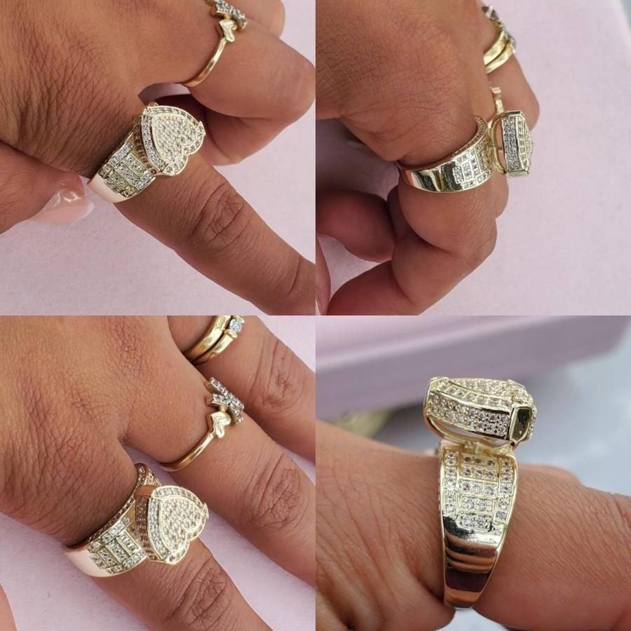 Mariage - 14k gold plated heart rings
