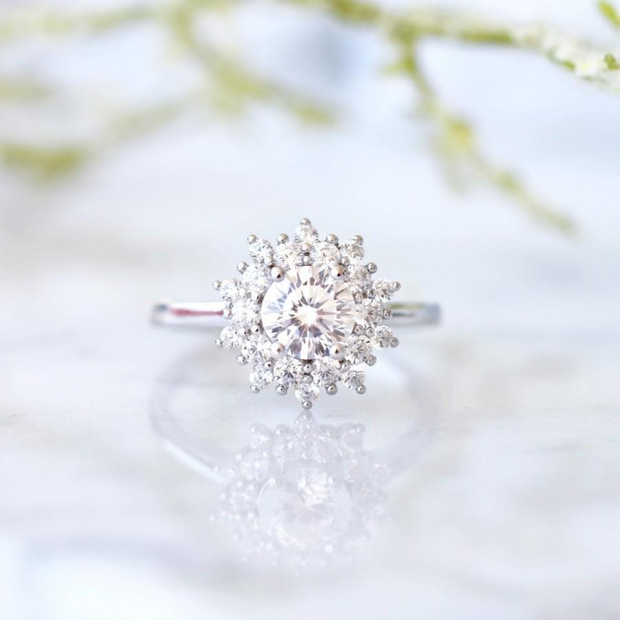 زفاف - Snowflake Diamond Ring- 14K Solid White Gold Ring- Moissanite Ring- Engagement Ring- Promise Ring- Round Cut- Anniversary Gift- Gift For Her