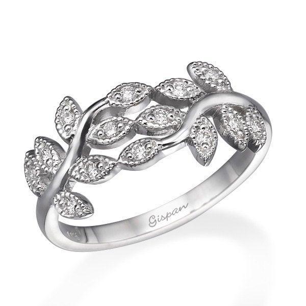 Hochzeit - Art Deco Engagement Ring, Wedding Ring, Cocktail Ring, Leaf Ring, Diamond Ring, 14k White Gold Ring, Woman Ring, Promise Ring