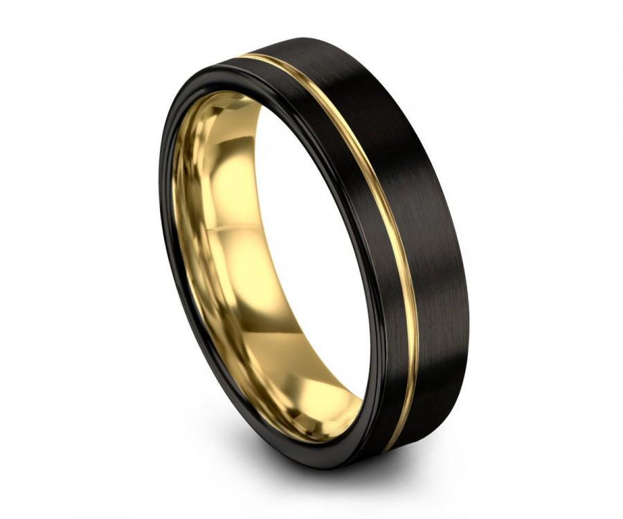 Hochzeit - Unisex Black Tungsten Ring 18k Yellow Gold Wedding Band Ring Tungsten Carbide Ring 8mm Width For Anniversary, Matching, Engagement, Gift