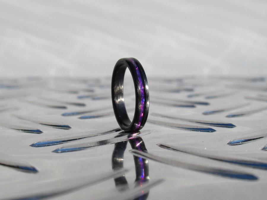 زفاف - Purple Engagement Ring - Purple Line Ring - Promise Ring - Carbon Fiber - Unisex Ring