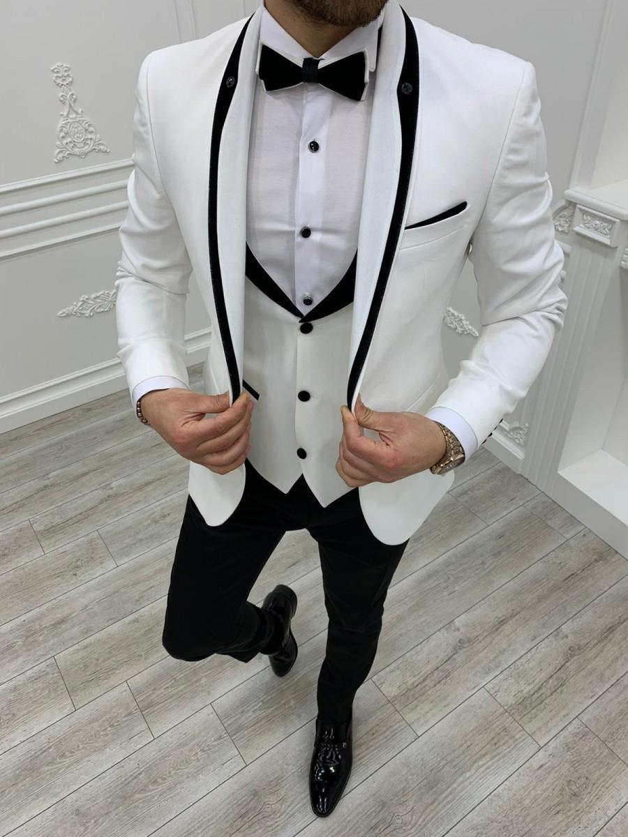 Mariage - Men Suits ~ Wedding Suit ~ 3 Piece Suits ~ Prom Suits, Slim fit Shawl Lapel one Button Tuxedo, White Slim Fit Shawl Lapel Tuxedo