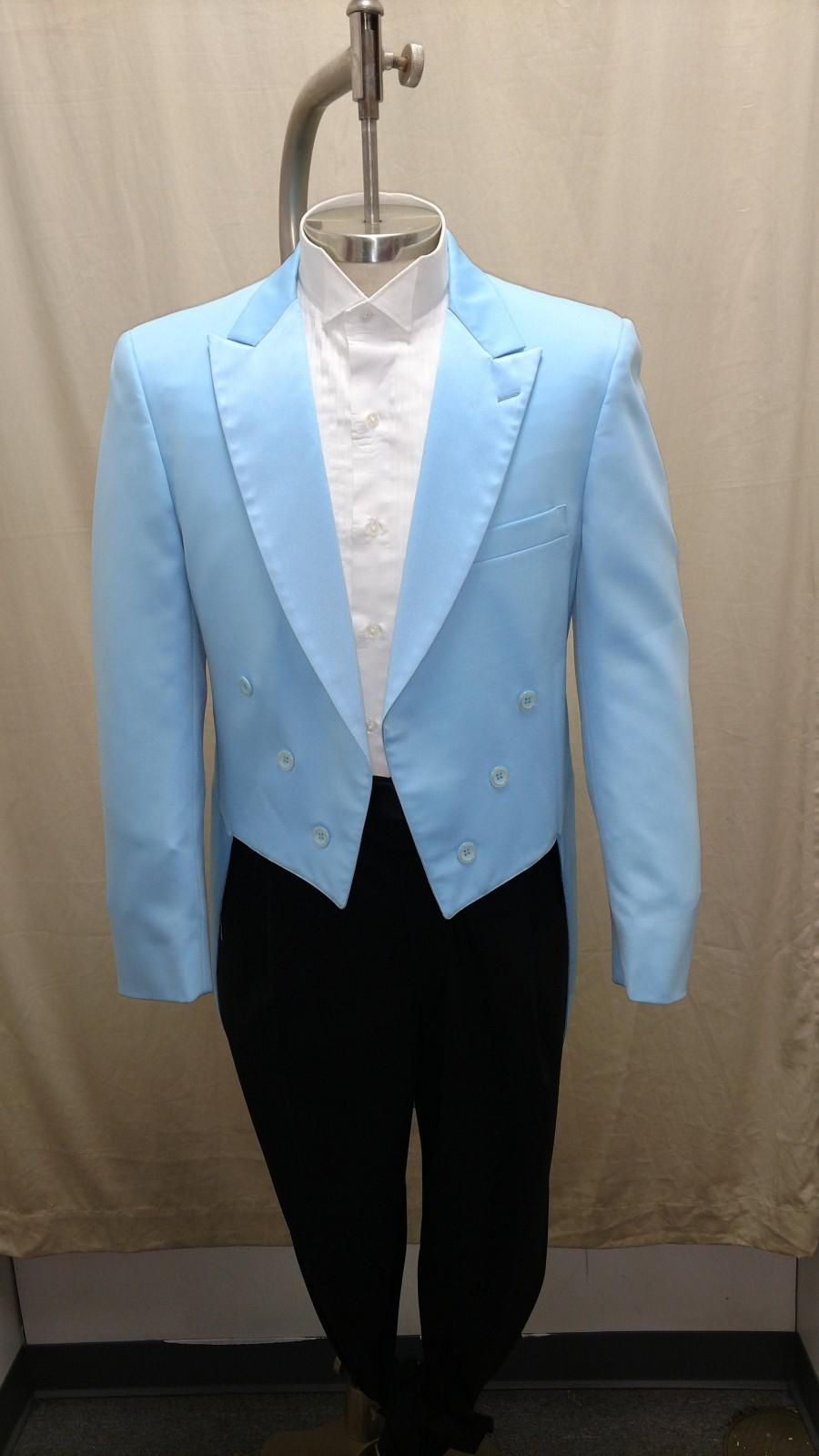 زفاف - Vintage Blue Tail Coat Tuxedo Jacket