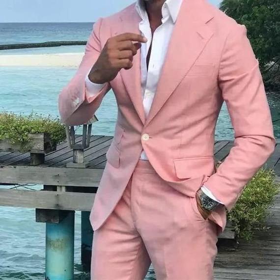 زفاف - Men Suits, Men Groom Wedding Suits, Pink 2 Piece Suits, Slim Fit One Button Party Wear Summer Suits Beach Suits
