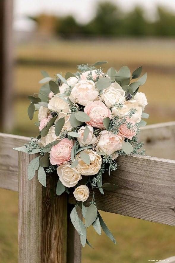 Mariage - Sola Wood Flower Custom Cascading Boho Greenery Bridal Bouquet