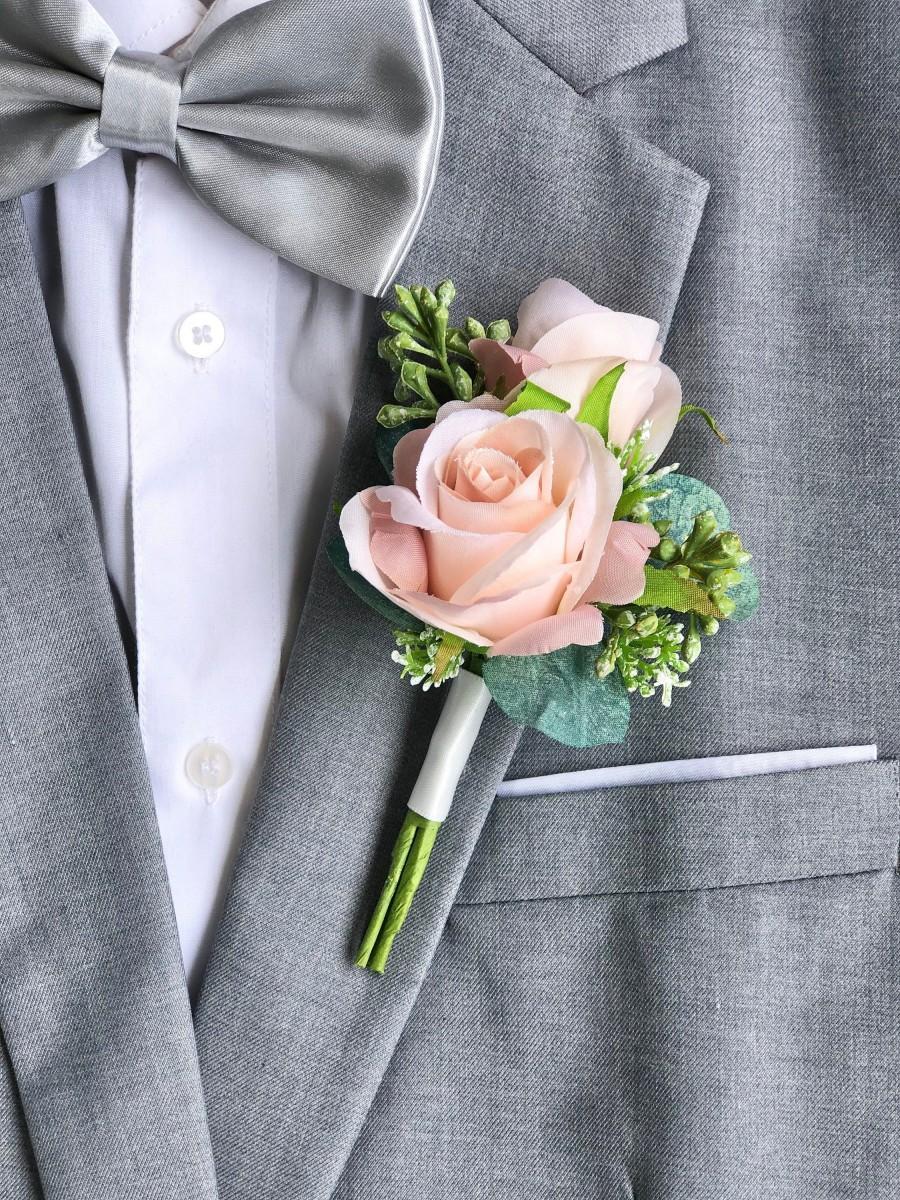Hochzeit - Pink Champagne Double Rose Eucalyptus Boutonniere