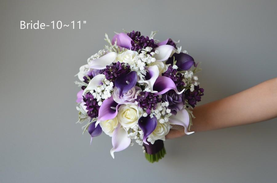 Mariage - Lilac Purple Wedding Bouquets, Faux Real Touch Calla Lilies, Roses, Silk Lilacs, Bridesmaids Bouquets, Boutonieres