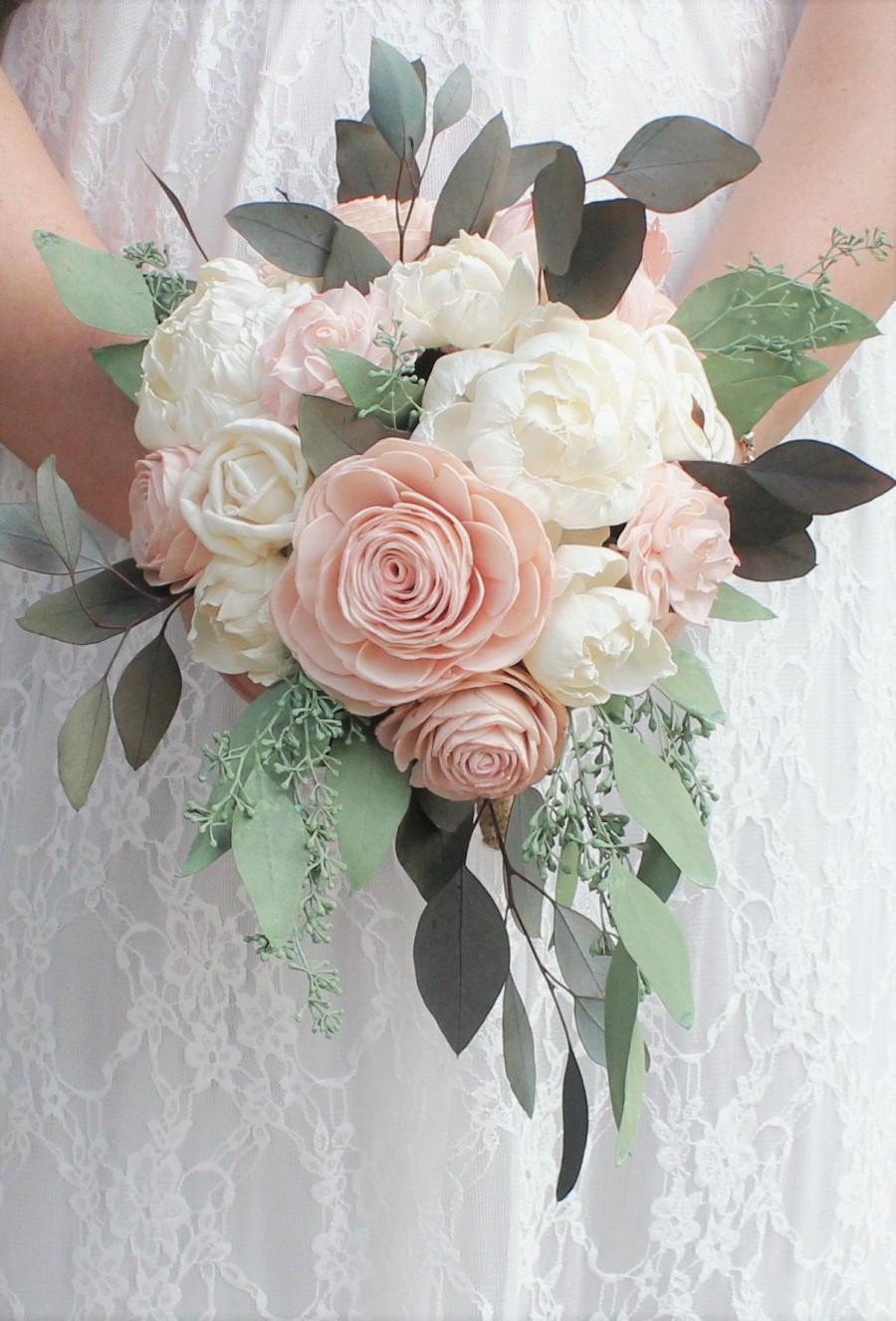 Свадьба - Mini Premium Custom Cascade Bridesmaid Wedding Bouquet Sola Flower Preserved Greenery