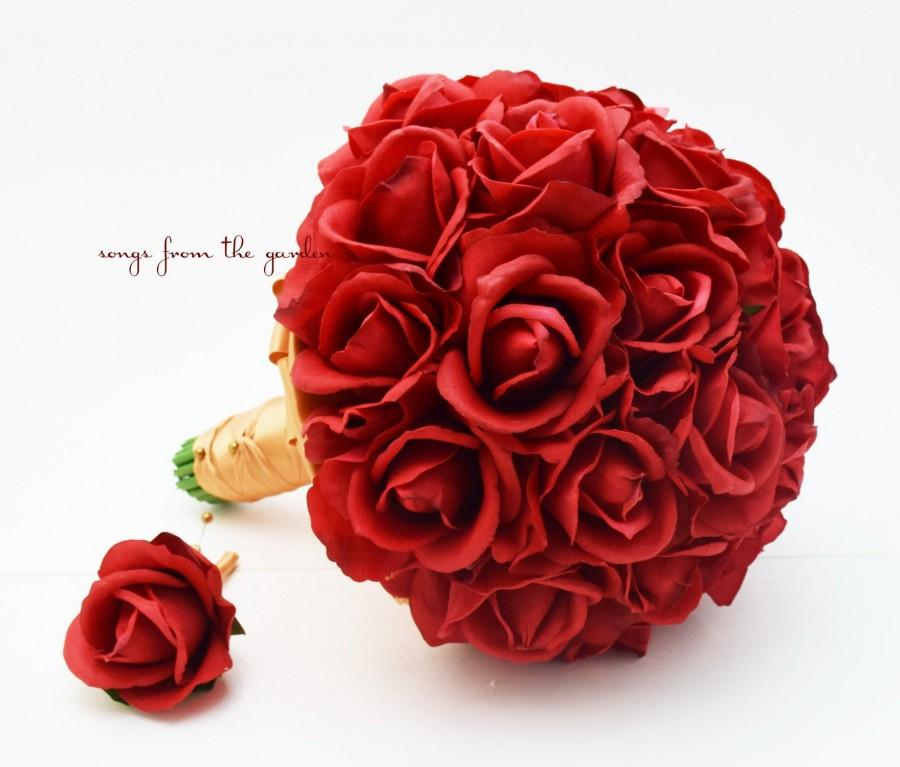 Wedding - Red Roses Bridal Bouquet Real Touch Bridal or Bridesmaid Bouquet - add Groom Groomsman Boutonniere Flower Crown Corsage Arch Flowers & More!