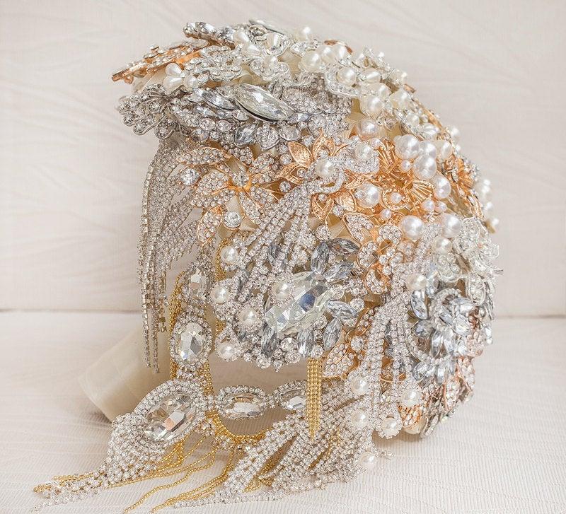 Hochzeit - Cascading gold and silver wedding broach bouquet, The Great Getsby brooch bouquet Jeweled Bouquet.  Quinceanera keepsake bouquet
