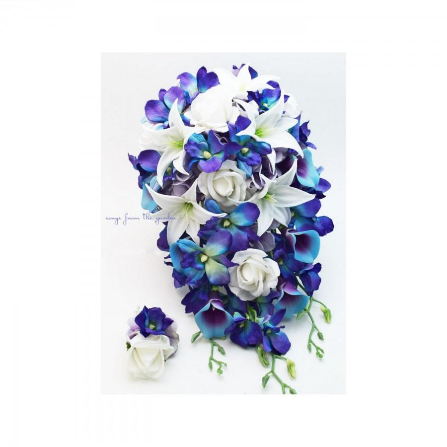 Wedding - Galaxy Blue Orchids Tiger Lilies Real Touch Roses - Cascade Bridal Bouquet - Add Groom Boutonniere or Bridesmaid Bouquet Arch Flowers & More