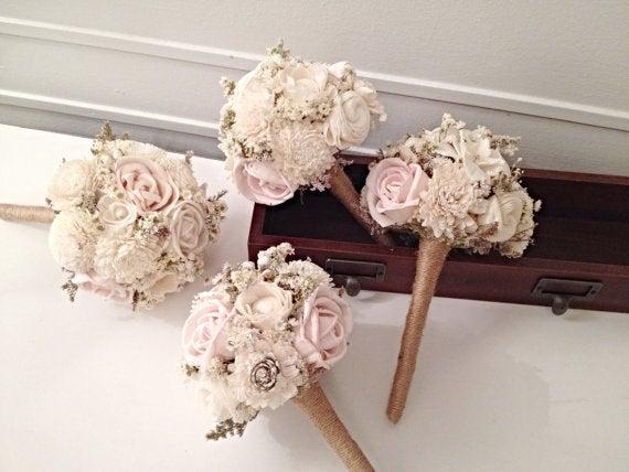 Свадьба - Blush Wedding Bouquet made with sola flowers - choose your colors - Custom - Alternative bridal bouquet - bridesmaids bouquet