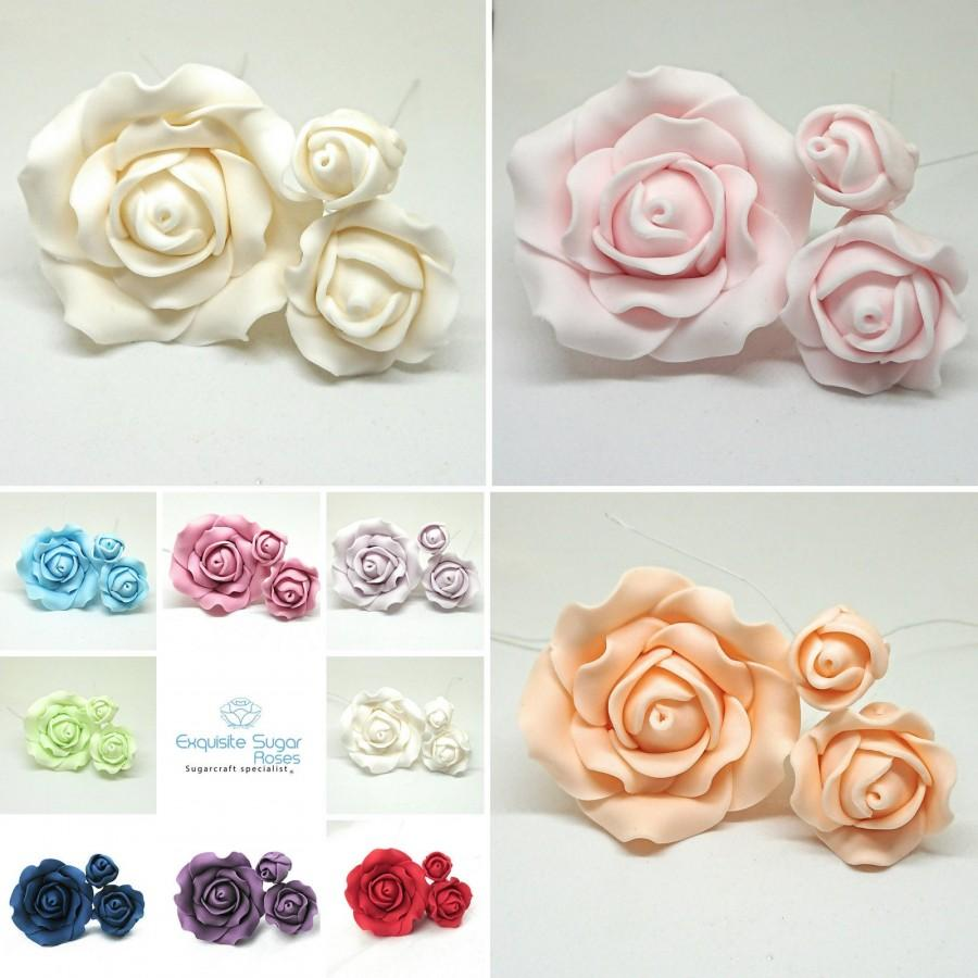 Mariage - SUGAR ROSE FLOWERS wedding cake birthday cake topper decoration X 3  (wired)  ** multi buy pay 1 flat rate postage cost **