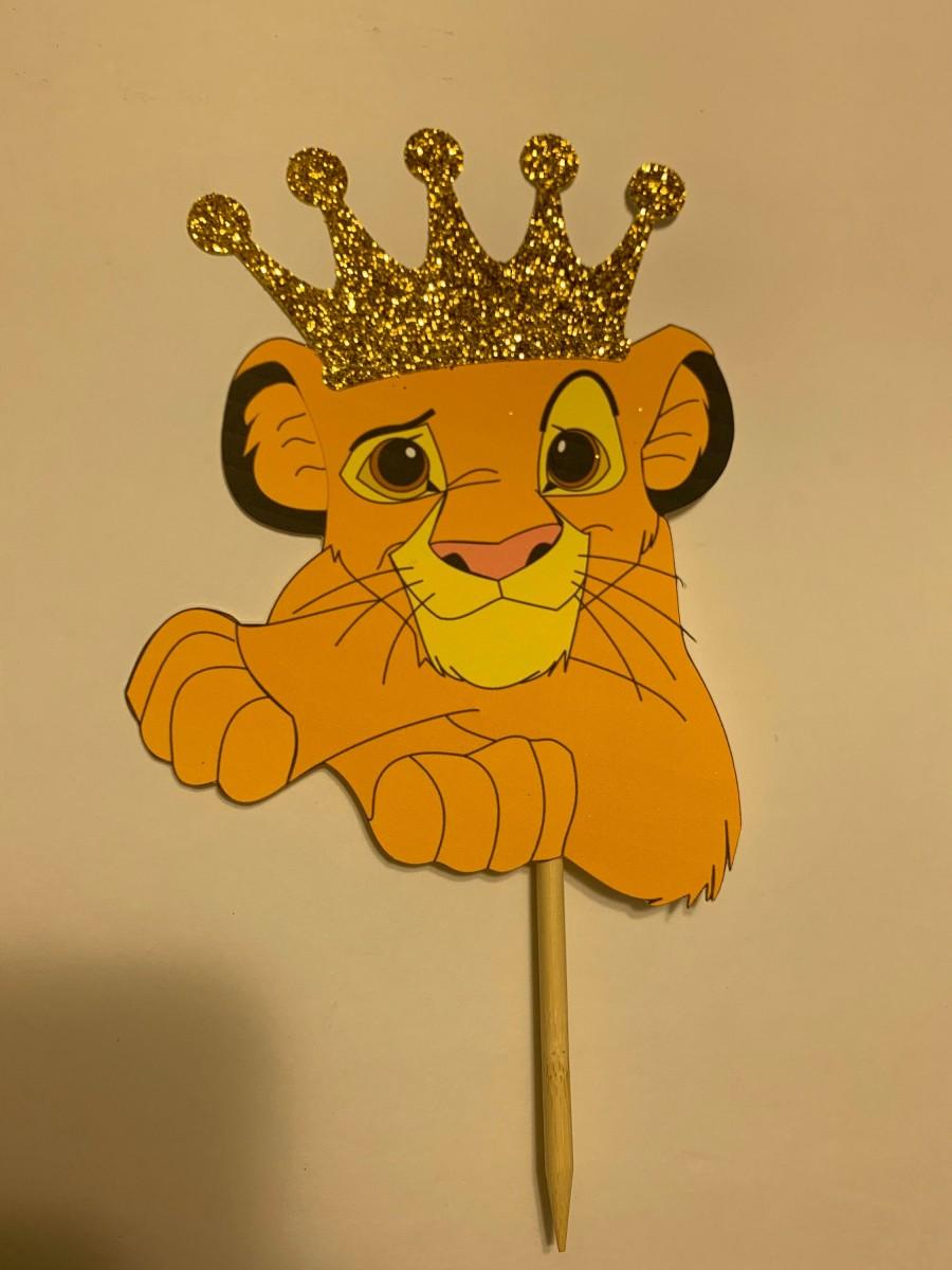 Mariage - Lion King Cake Topper With Gold Glitter Crown