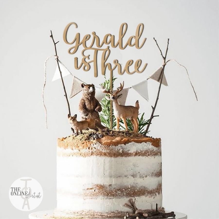 Mariage - Wood Birthday Cake Topper with Number / Custom Wood One Cake Topper / Personalized Birthday Cake Topper / ONE Smash Cake Topper - by TOA