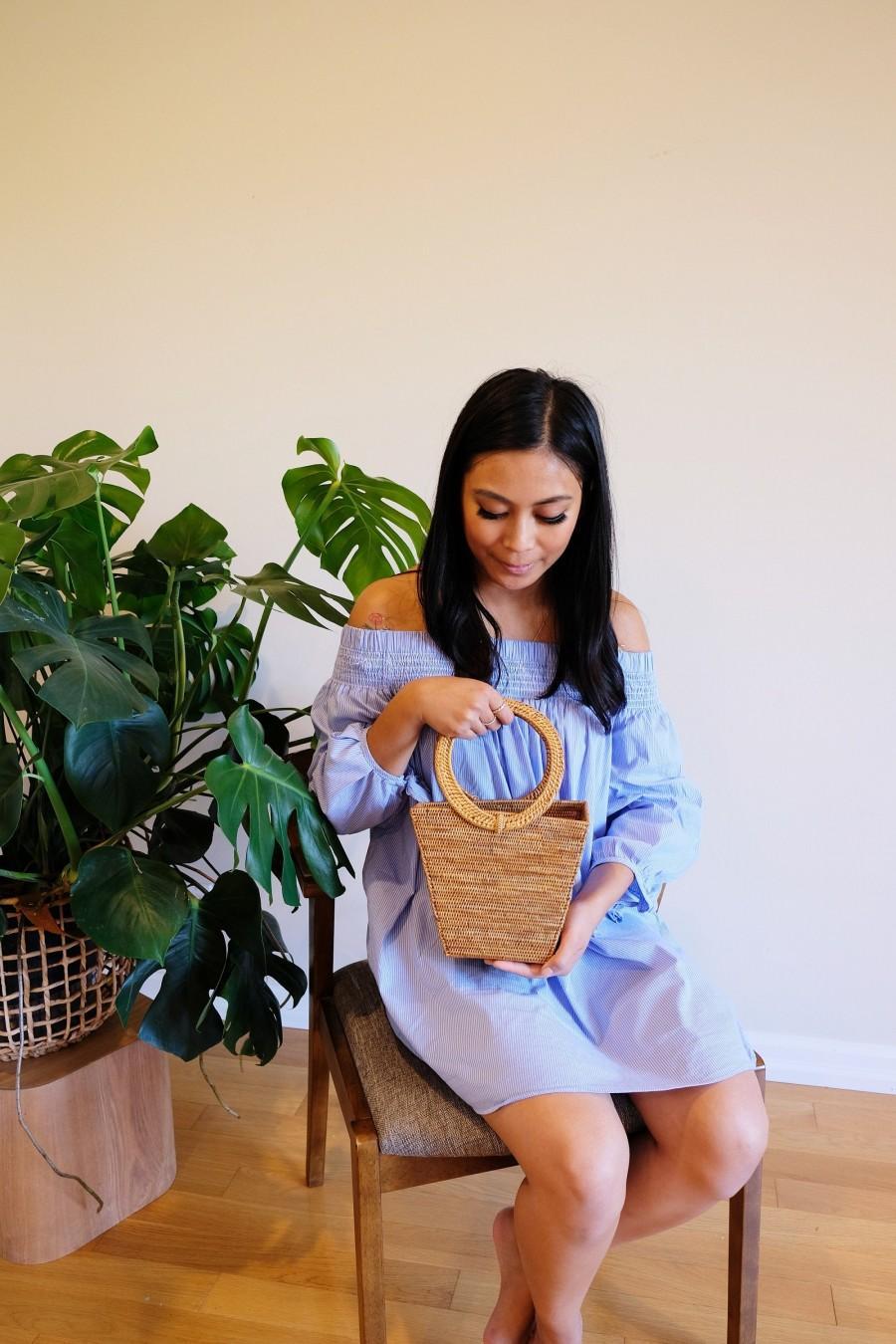 Hochzeit - MIA Rattan clutch , Rattan top handle bag, handwoven bucket bag, bohemian style accessories